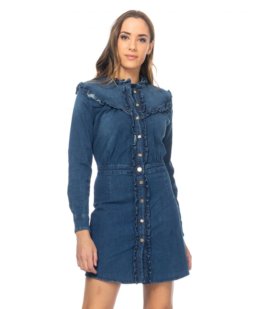Image for Denim  shirt dress with ruffle details