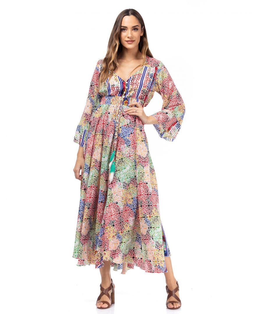 Image for Long printed dress with flared French sleeves, buttons and elastic waist