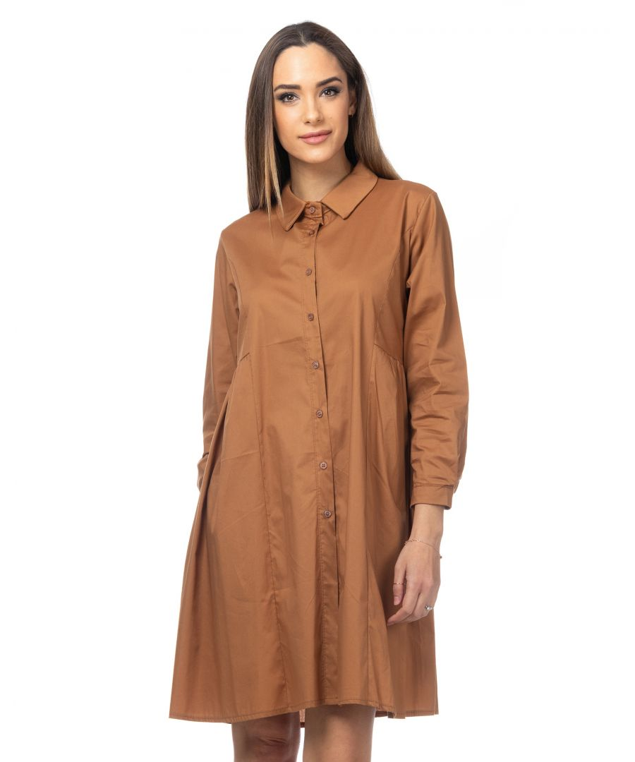 Image for Oversized shirt dress with pleats at the waist