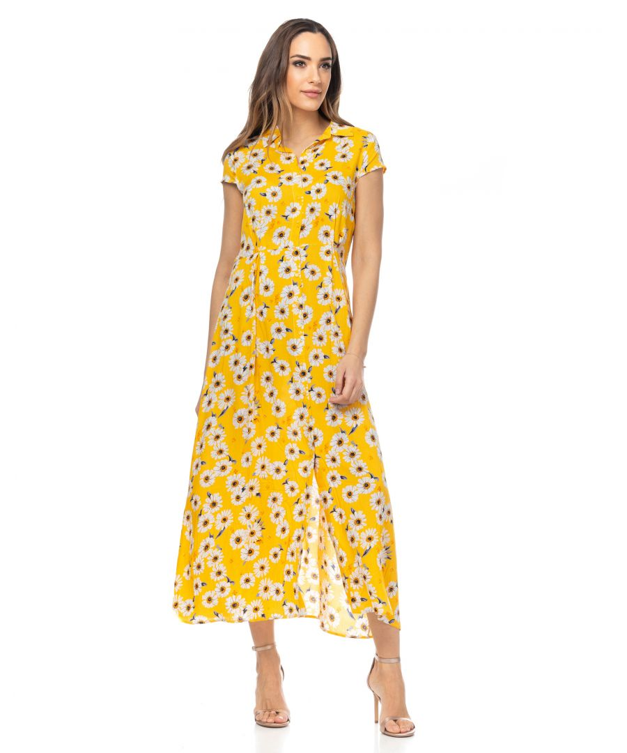 Image for Long shirt dress with daisy print