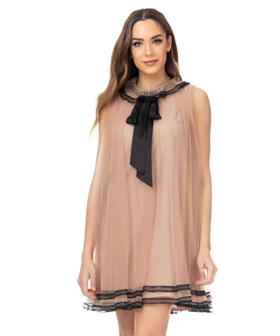 Image for Wide net dress with satin  loop