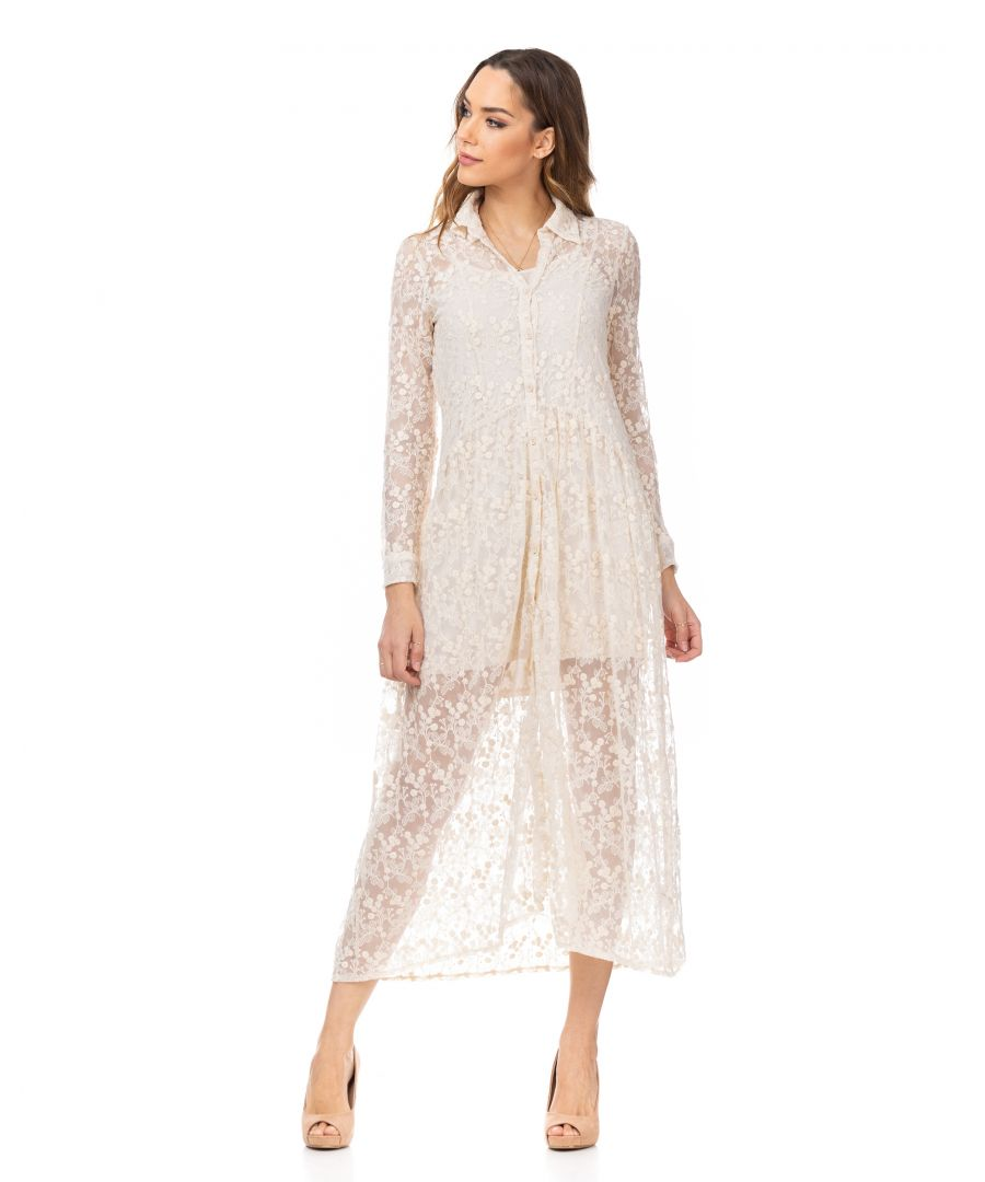 Image for Midi embroidery shirt dress with lining apart