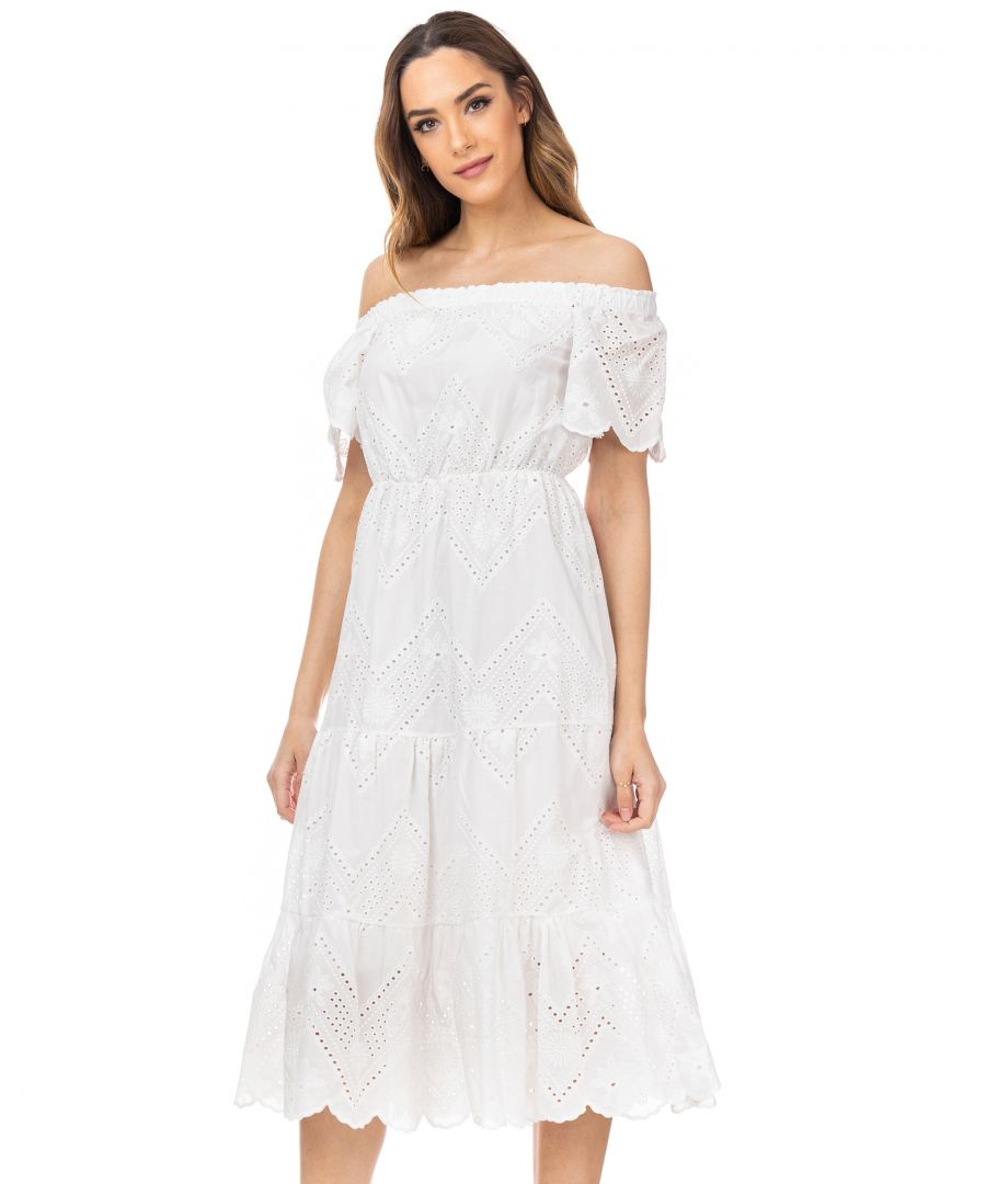 Image for Batista long  dress with elastic boat neck