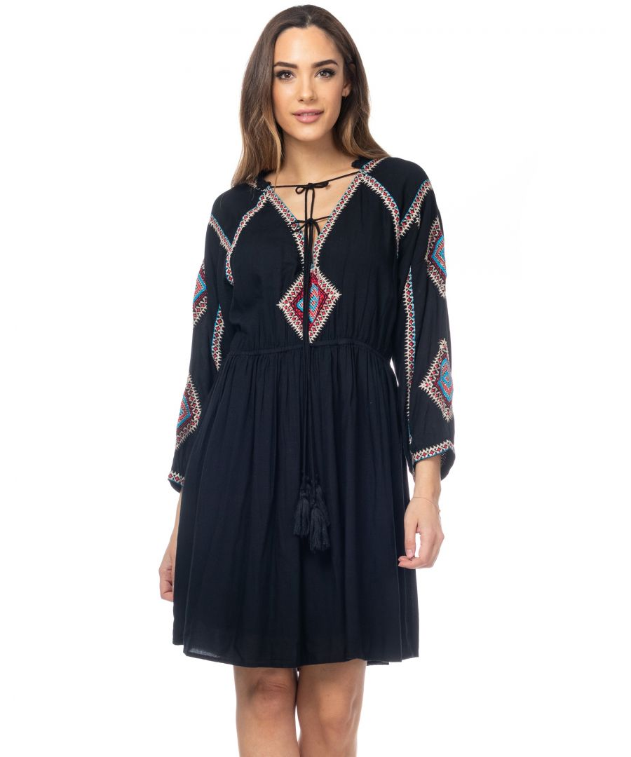 Image for Dress with embroidery sleeves and chest, elastic waist
