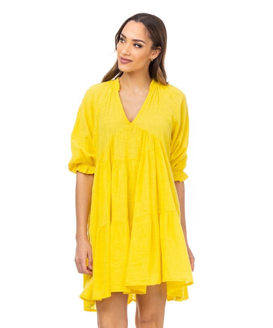 Image for Wide dress with V neck and 3/e elastic sleeves