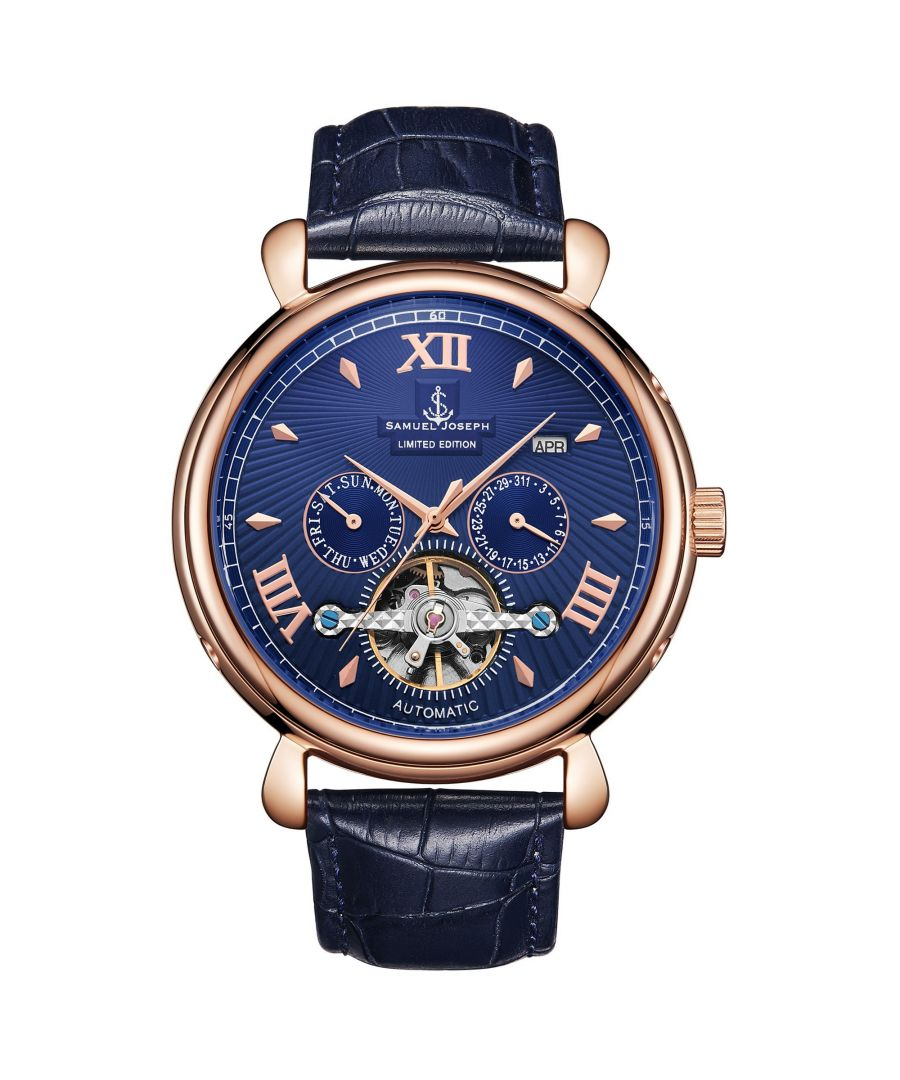 Image for Samuel Joseph Limited Edition Rose & Blue Automatic Designer Mens Watch