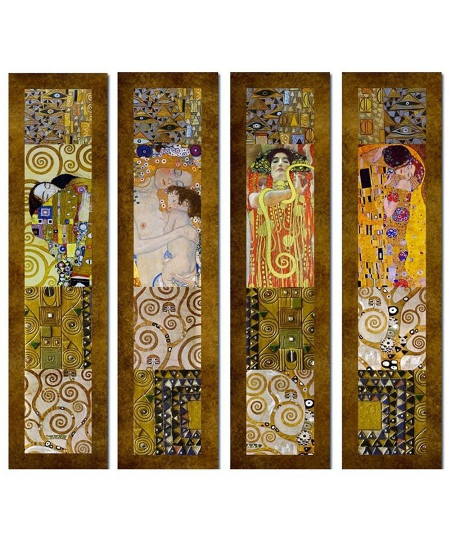 Image for Canvas Print - Klimt Paintings - Composition 1 - Gustav Klimt Cm. 100x100 (4 Panels)