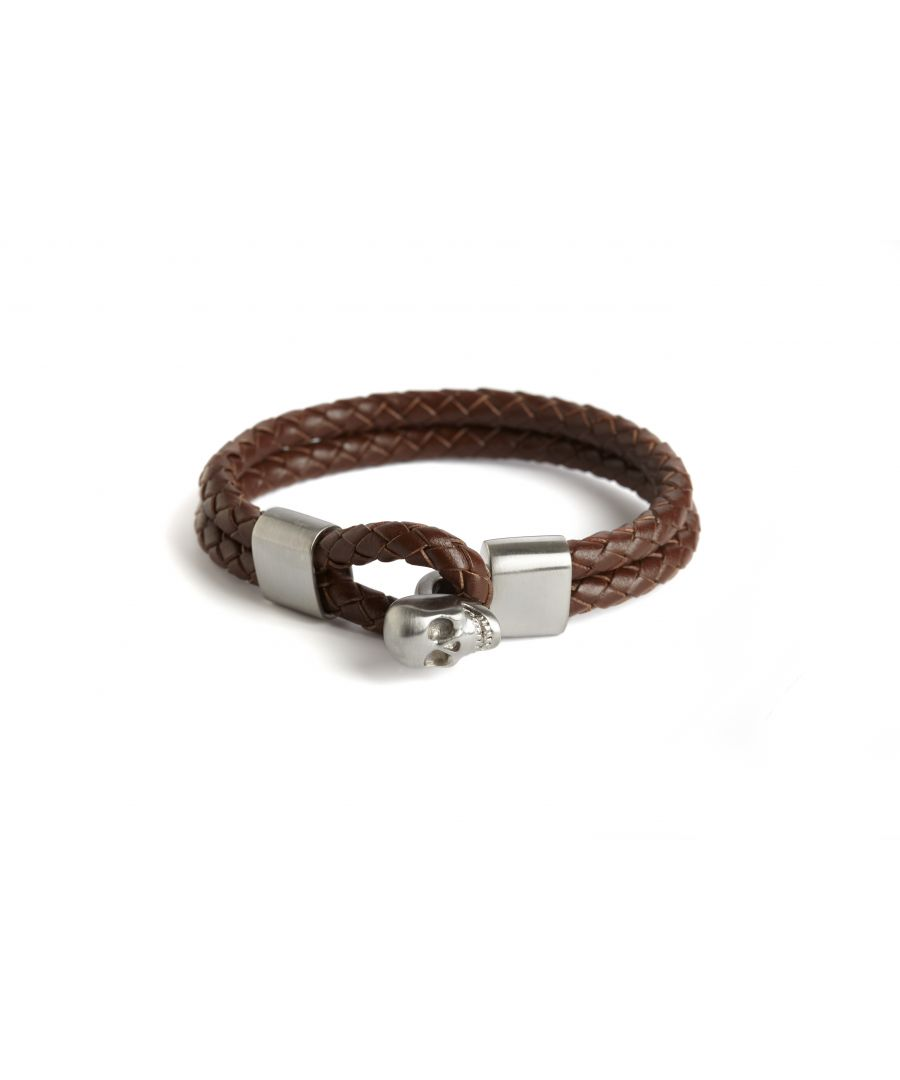 Image for BROWN DOUBLE ROW SKULL BRACELET