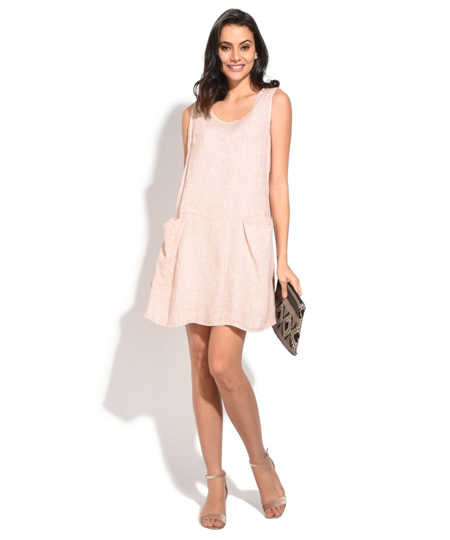 Image for Short Dress with rolled round collar and pockets