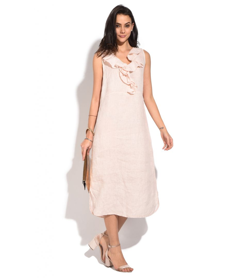 Image for Long sleeveless Dress with ruffled V-neck