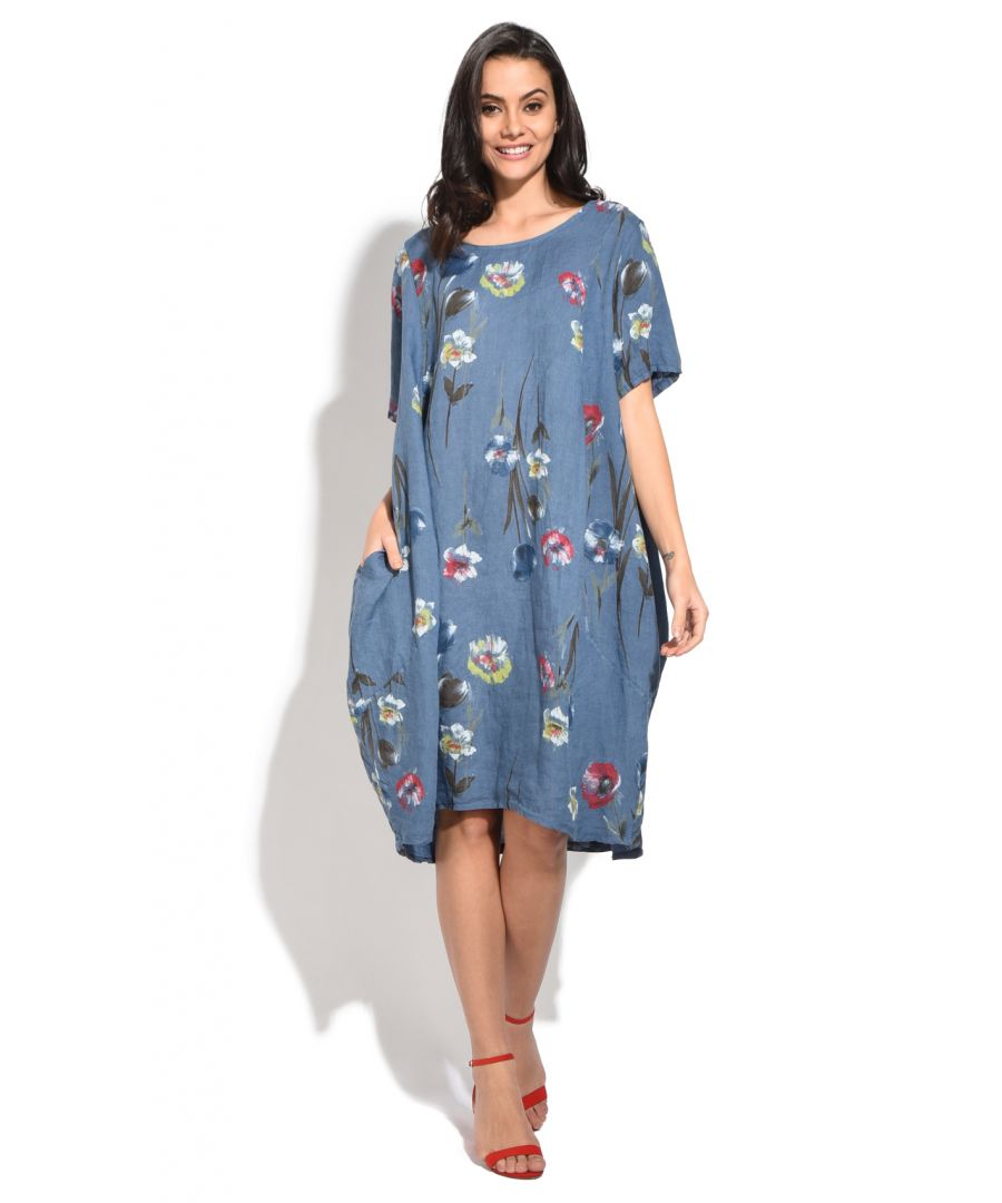 Image for Fluid long Dress with floral prints and round collar