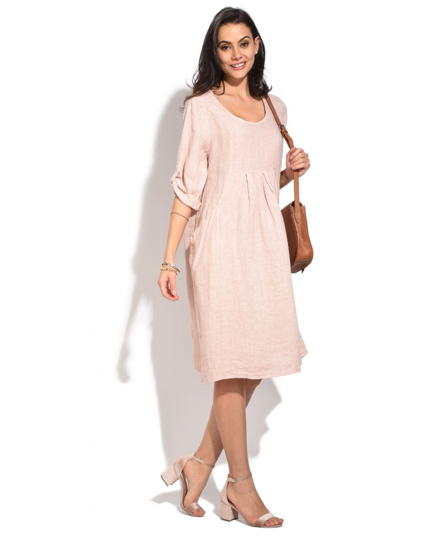 Image for Fluid mid-lenght Dress with round collar and pockets