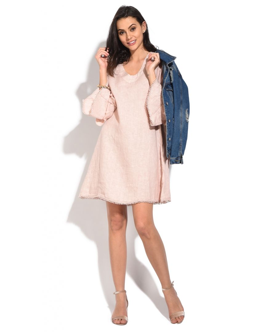 Image for Short Dress with V-neck and ruffled double sleeves