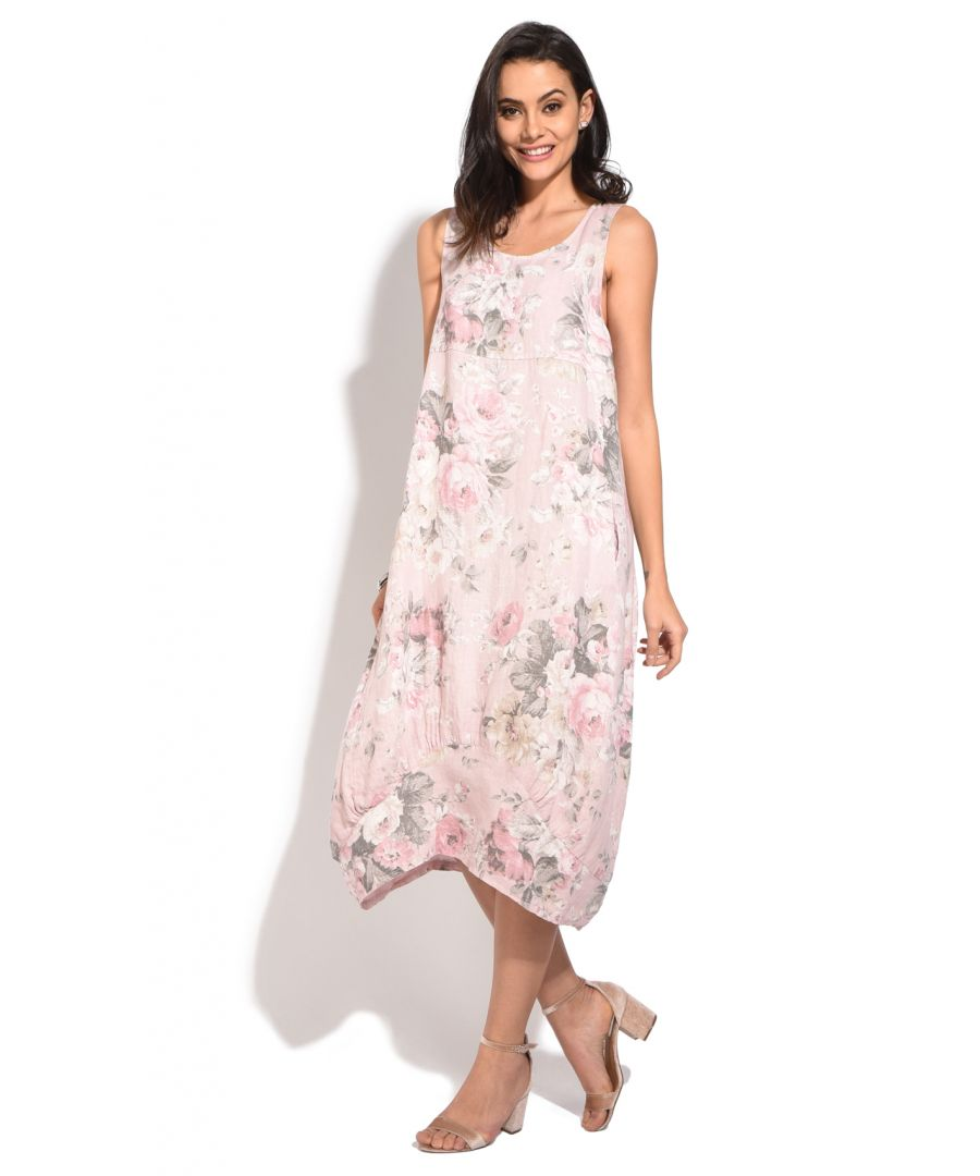 Image for Long Dress with V-neck and  floral prints