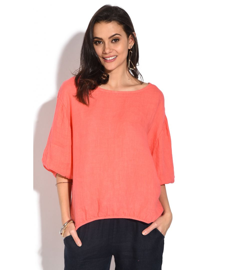 Image for Openwork round collar Top with buttoned on the back and 3/4 sleeves