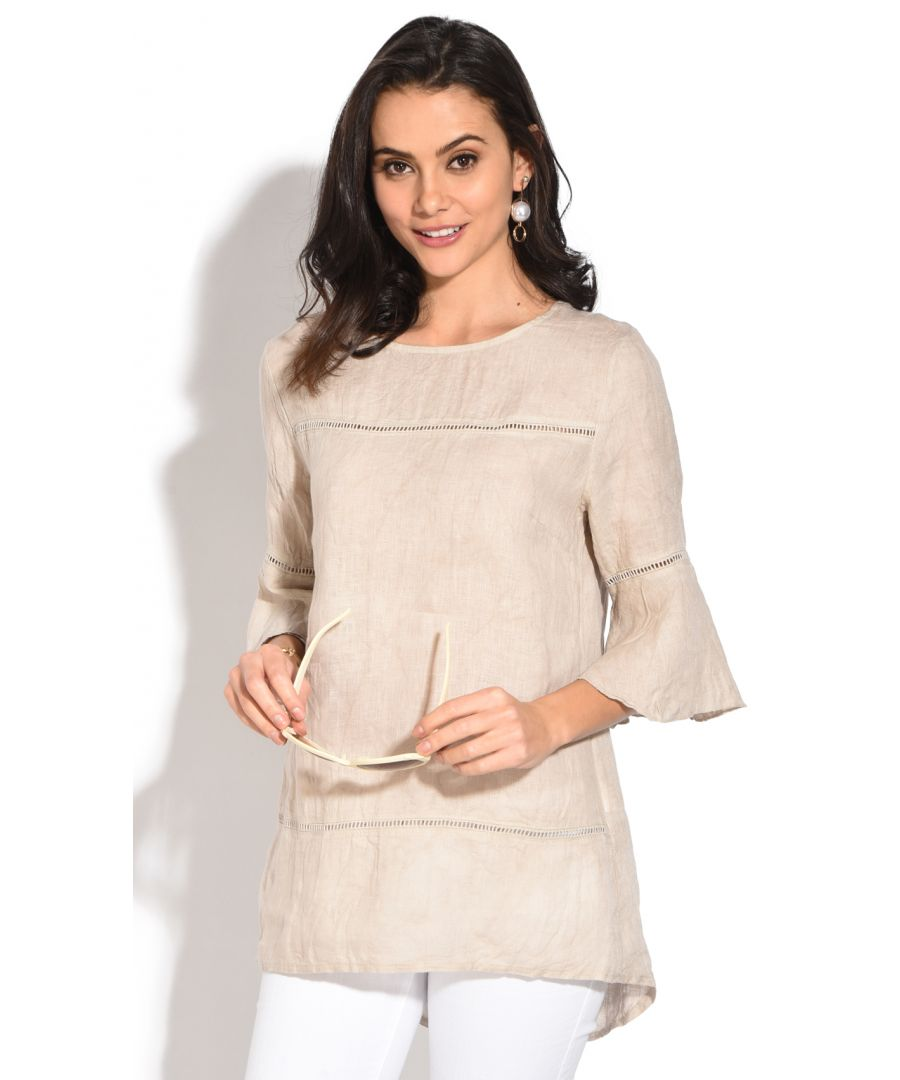 Image for Round collar Tunic with lace insert and ruffled sleeves