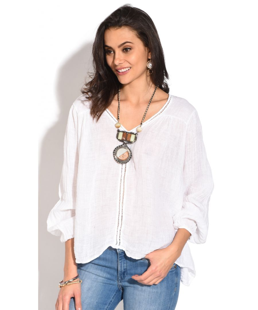 Image for V-neck Top with lace insert and half- sleeves