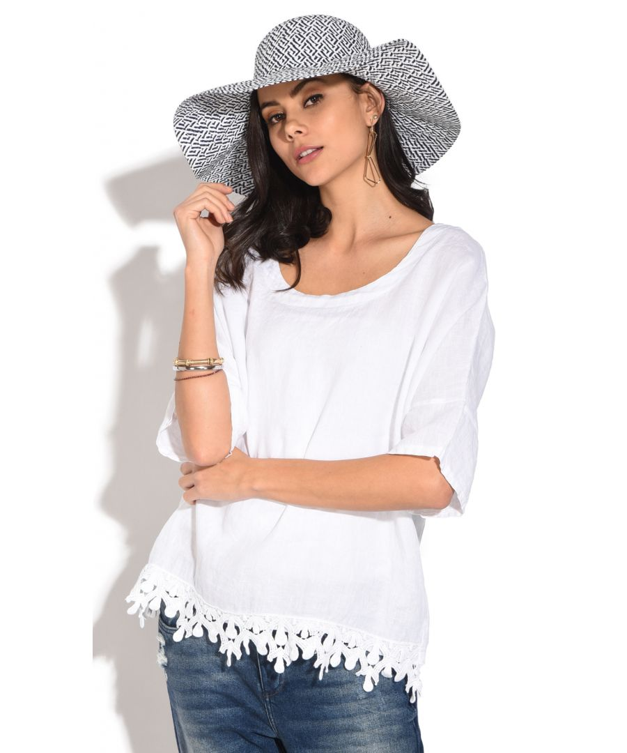 Image for Half-sleeves round collar Top with frilly lace
