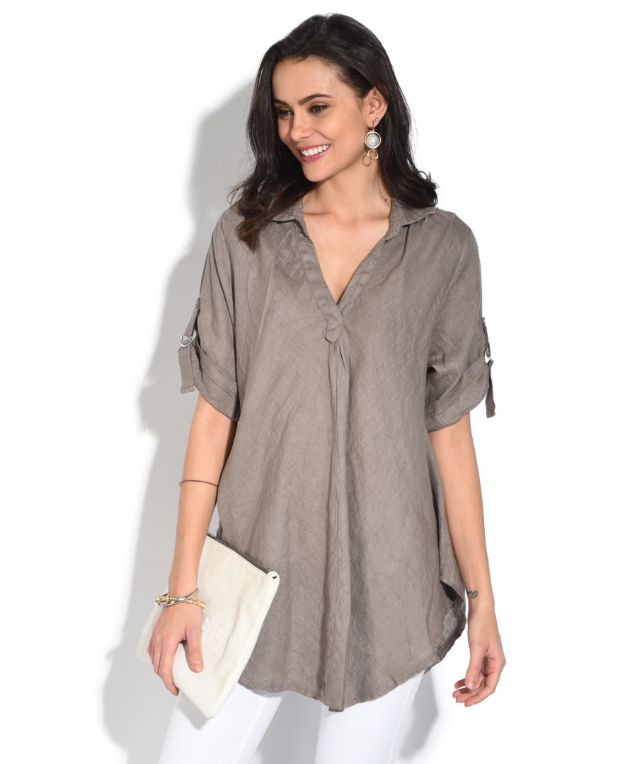 Image for V-neck Blouse with long attachable sleeves