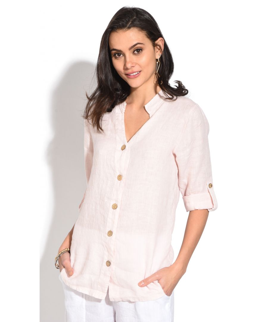 Image for Tunisian collar buttoned Blouse with long attachable sleeves