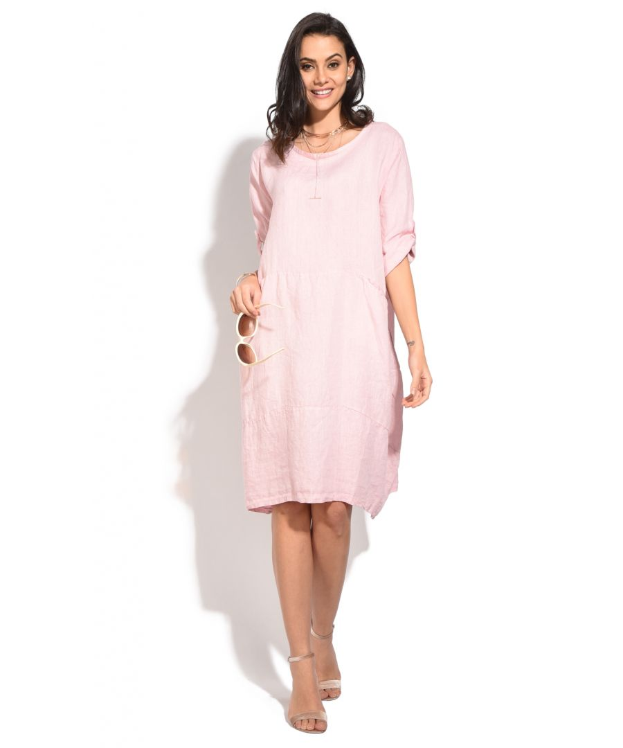 Image for Fluid Mid-Length Dress with Round Collar, Long Attachable Sleeves and Pockets