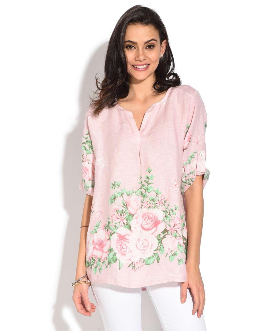 Image for Tunisian collar Top with floral prints and long attachable sleeves