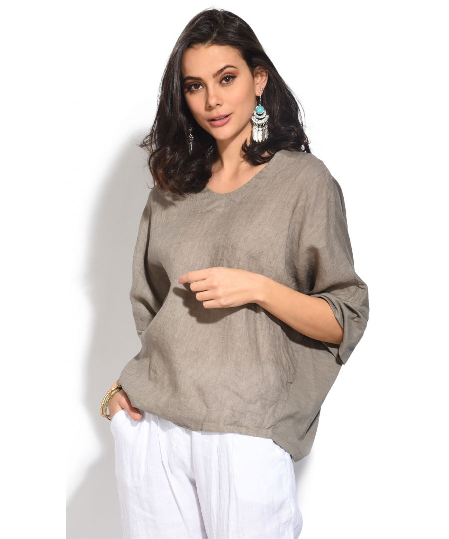 Image for Bi-material round neck Top with bat-sleeves