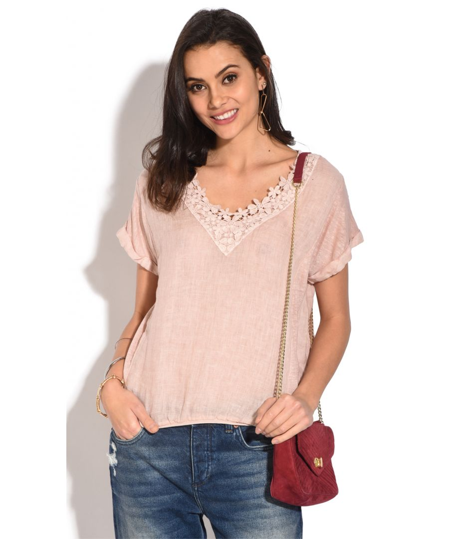 Image for Laced V-neck Top with short sleeves