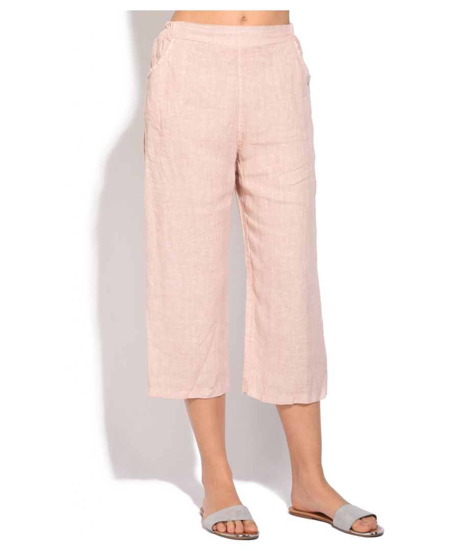 Image for Fluid straight cut cropped Trouser with pockets and elastic waistband
