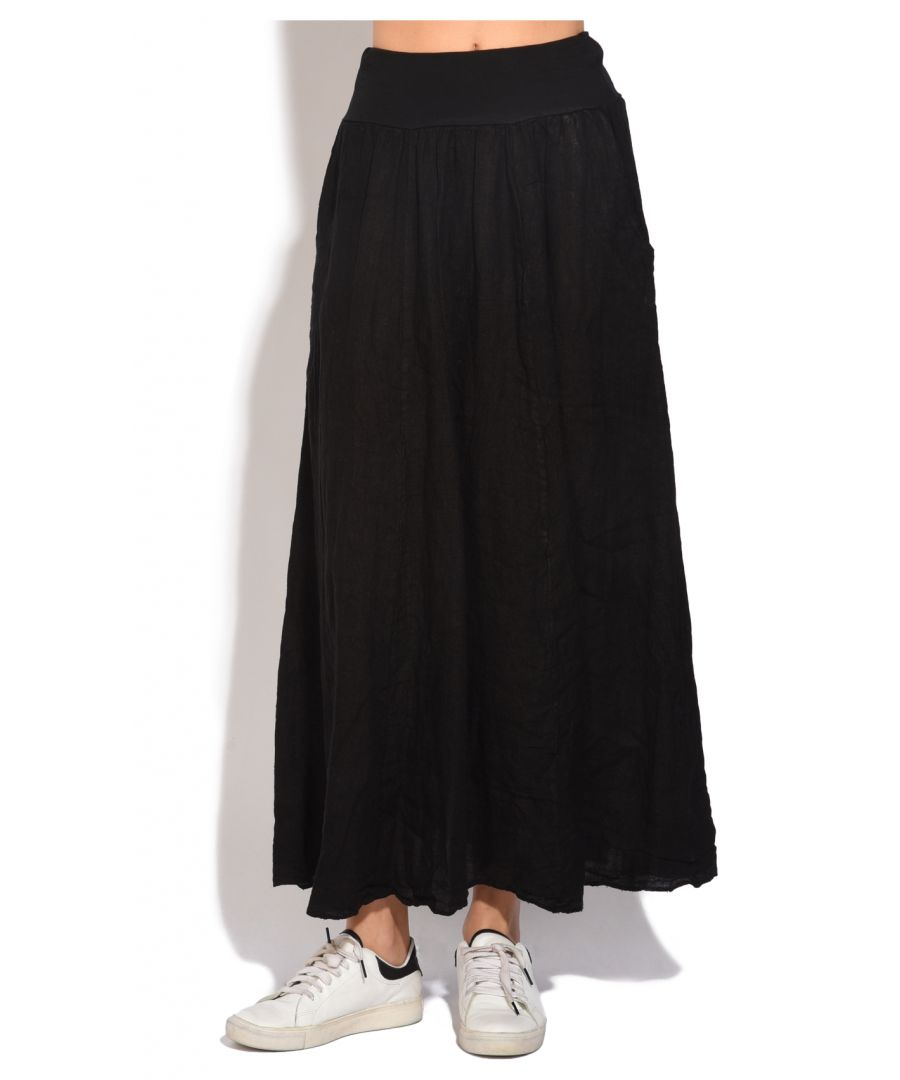 Image for Fluid long Skirt with pockets and elastic waistband