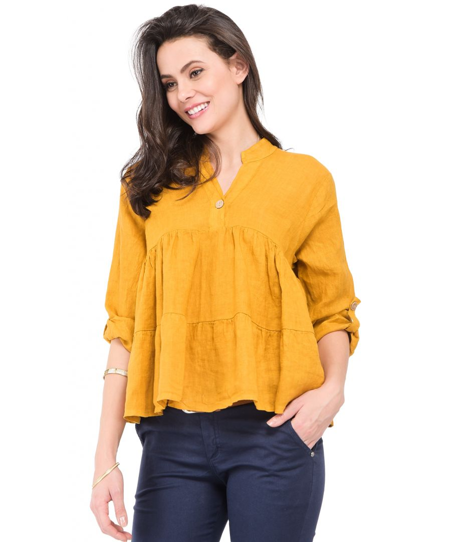 Image for Buttoned mao V-neck ruffled Top with attachable long sleeves