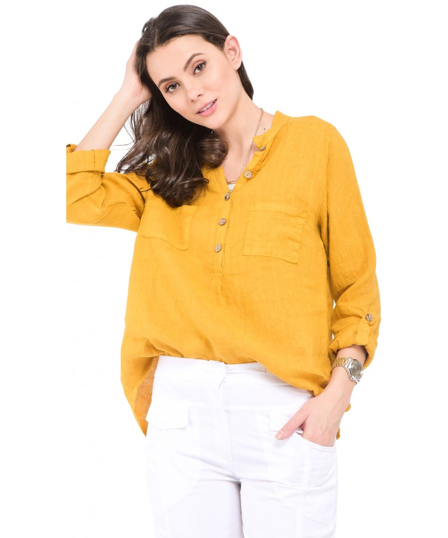 Image for Buttoned tunisian collar Blouse with front pockets