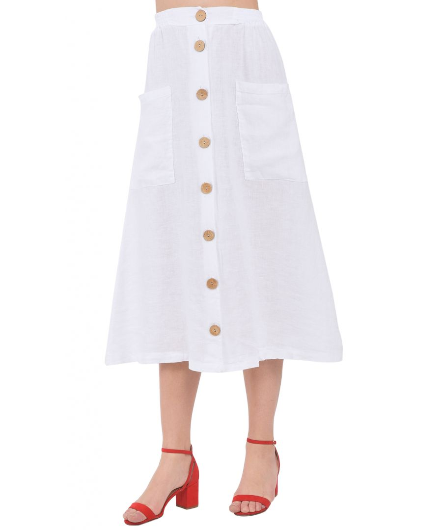 Image for Long buttoned Skirt with pockets and elastic waistband