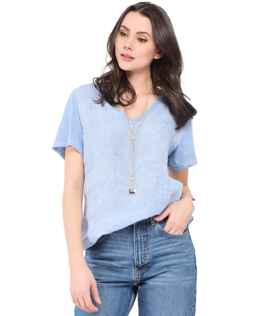 Image for V-neck faded Top with short sleeves