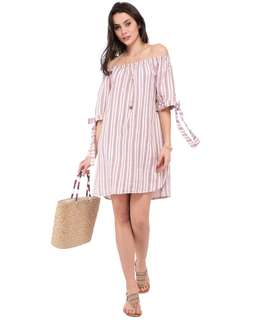 Image for Short stripped Dress with boat collar and knotted half-sleeves