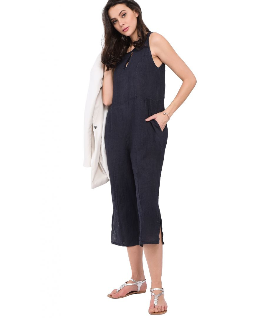 Image for Round water drop collar Jumpsuit with pockets and lateral legs opening