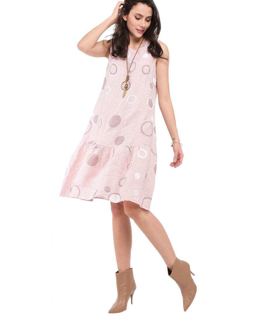 Image for Mid-Length Round Collar Dress with Prints and Ruffled Bottom