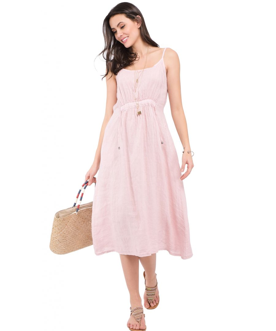 Image for Long strapped Dress with front lacing and pockets