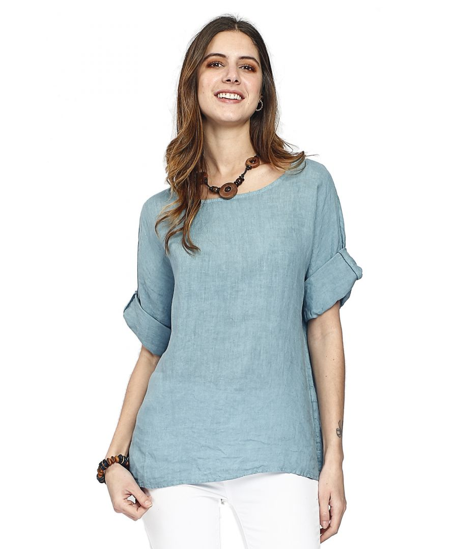 Image for Pure linen top with buttons on the front