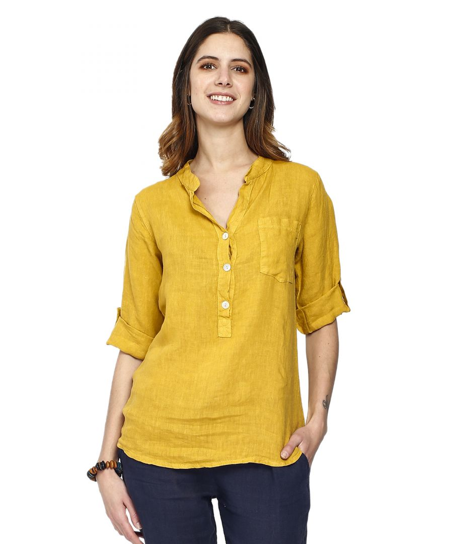 Image for Pure linen tunic shirt with long pockets