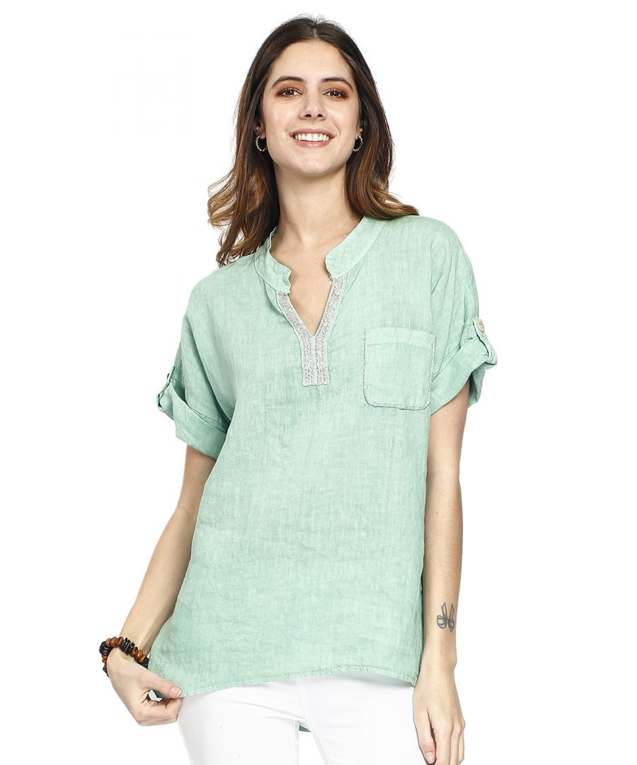 Image for Pure linen shirt top with mandarin collar