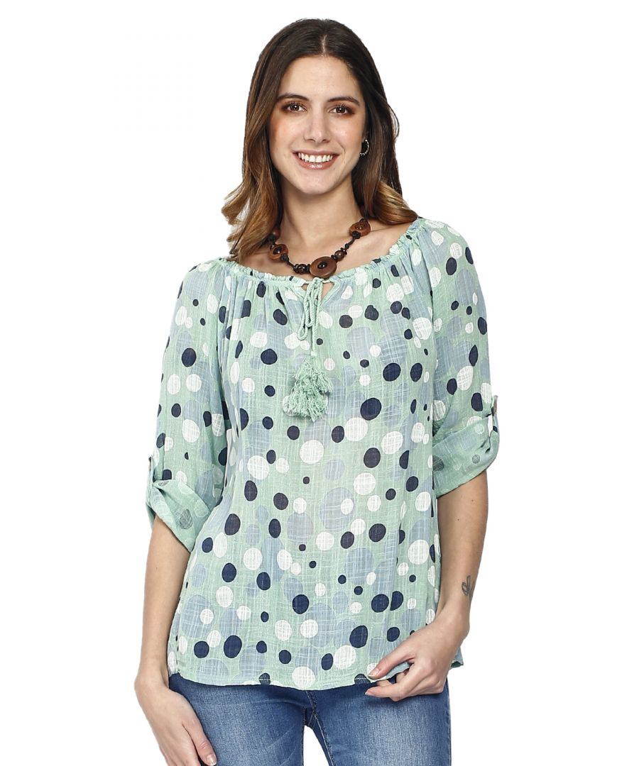 Image for Polka dot top in front of polka dot lace collar