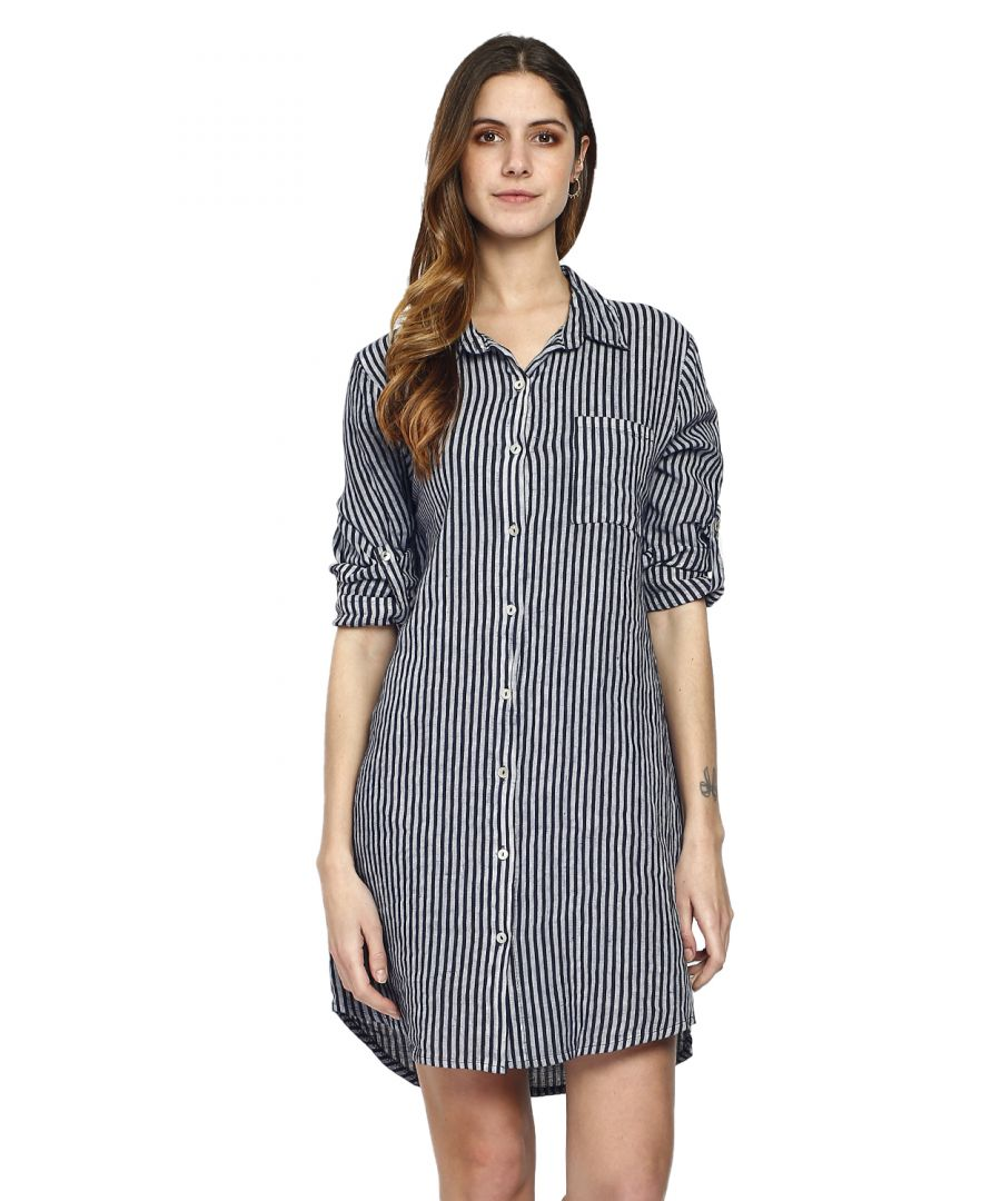 Image for Pure Linen Striped Shirt Dress