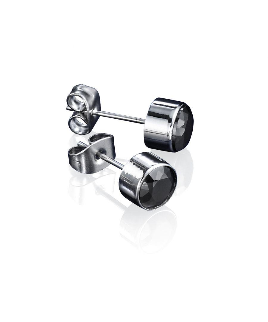 Image for Fred Bennett Mens Jet Black Cubic Zirconia Stainless Steel Round Stud Earrings E3795