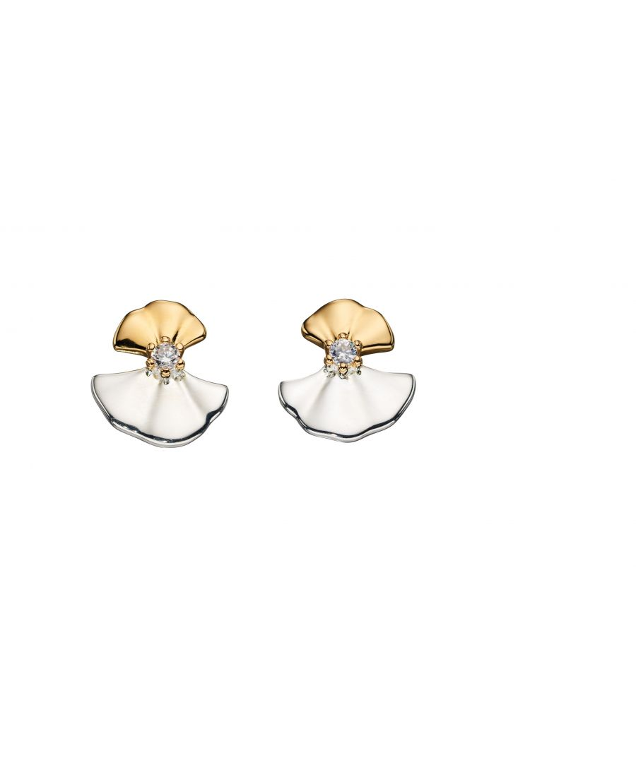 Image for Elements Silver Womens 925 Sterling Silver & Yellow Gold Plating Ginko Leaf Drop Earrings