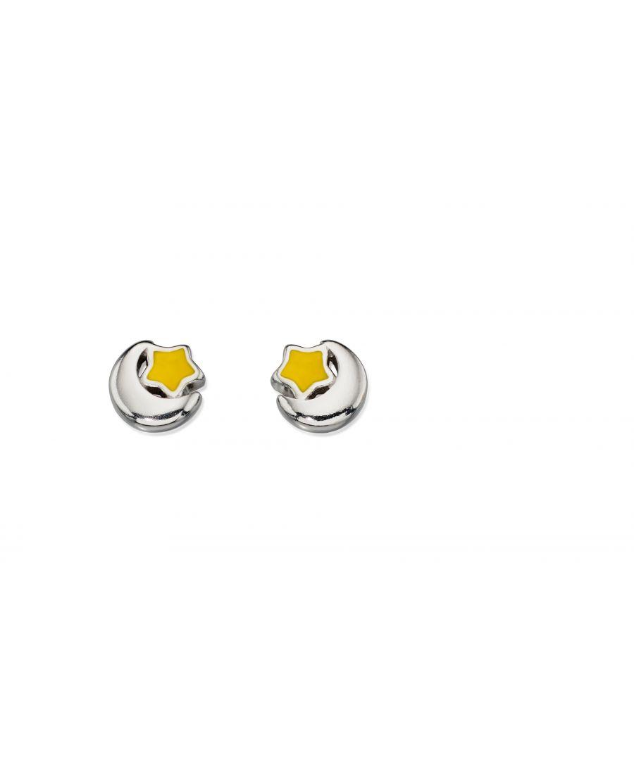 Image for D for Diamond Childrens 925 Sterling Silver & Enamel Starry Night Moon & Star Stud Earrings