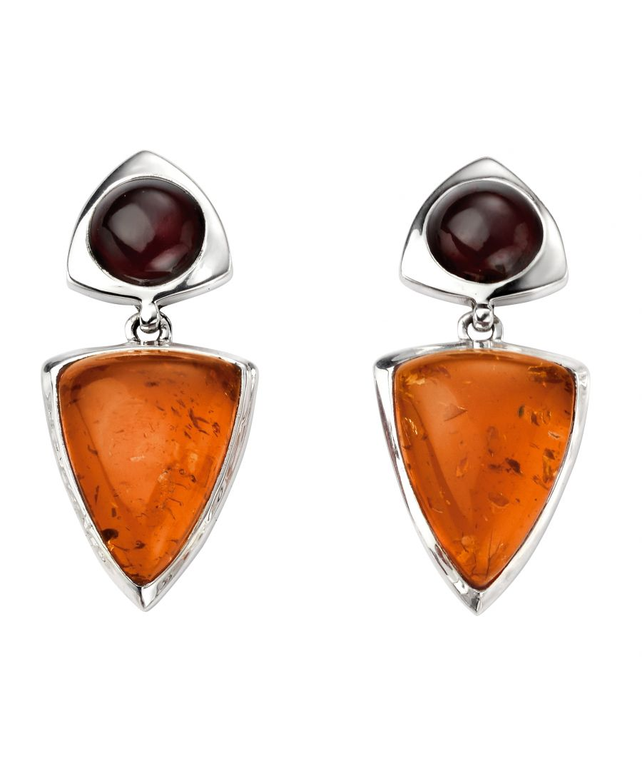Image for Elements Silver Amber And Garnet Earrings