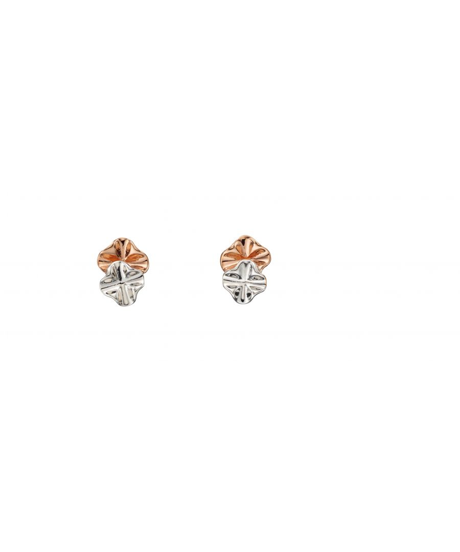 Image for Elements Silver Womens 925 Sterling Silver & Rose Gold Plating Ruffle Stud Earrings E5493