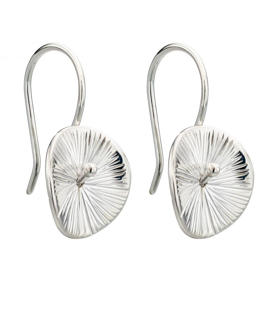 Image for Elements Silver Womens 925 Sterling Silver Scratched Finish Disc Dangle Hook Earrings E5521