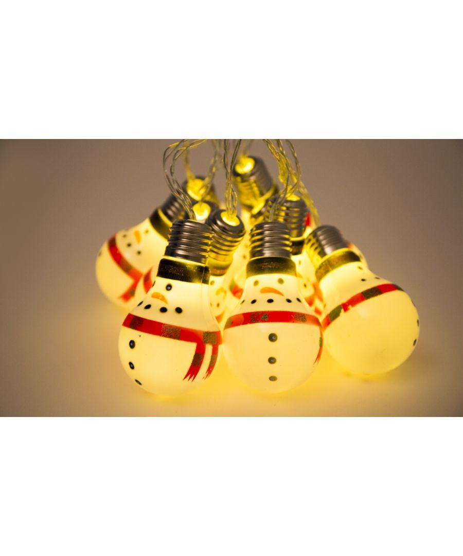 Image for 10 LED Snowman Bulb String Lights